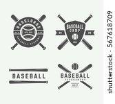 vintage baseball logos  emblems ... | Shutterstock .eps vector #567618709