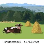 mountain landscape with meadow... | Shutterstock .eps vector #567618925