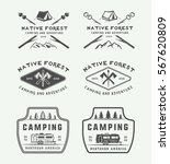 set of vintage camping outdoor... | Shutterstock .eps vector #567620809