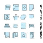Outline Set Of Linen Icons. Be...