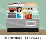 saleslady standing at checkout... | Shutterstock .eps vector #567641899