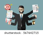 happy businessman with many... | Shutterstock .eps vector #567642715