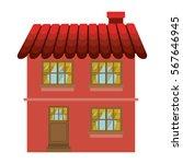 facade confortable house with... | Shutterstock .eps vector #567646945