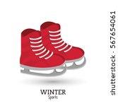 red ice skate winter sport | Shutterstock .eps vector #567654061
