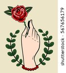 A Hand Holding A Rose. Drawing...