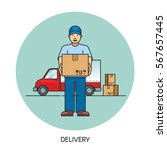 male postal delivery courier... | Shutterstock .eps vector #567657445
