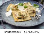 ravioli with parmesan on plate