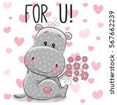 valentine card cute cartoon... | Shutterstock .eps vector #567662239