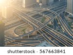 highway crossroads at sunset ... | Shutterstock . vector #567663841