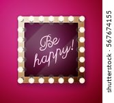 make up mirror with light bulbs   Shutterstock .eps vector #567674155