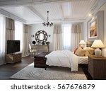 spacious bedroom mediterranean...   Shutterstock . vector #567676879