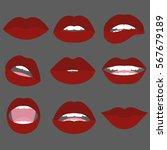 women lips gestures set. flat... | Shutterstock .eps vector #567679189
