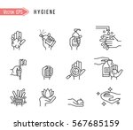 simple set of hygiene related... | Shutterstock .eps vector #567685159