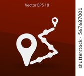 flat route icon. | Shutterstock .eps vector #567687001