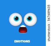 surprised emoticon. emoji face... | Shutterstock .eps vector #567689635