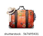 retro suitcase of a traveler... | Shutterstock . vector #567695431