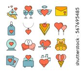 wedding icons color style | Shutterstock .eps vector #567695485