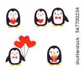 cute penguins set   happy... | Shutterstock .eps vector #567700234