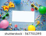 colorful frame with party items ... | Shutterstock . vector #567701395