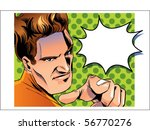 man pointing with speech bubble