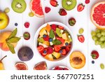 making fruit salad. delicious... | Shutterstock . vector #567707251