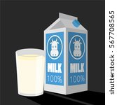 milk box and glass of milk... | Shutterstock .eps vector #567708565
