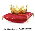 royal gold crown on red pillow... | Shutterstock . vector #567719767