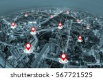 map pin above cityscape and... | Shutterstock . vector #567721525