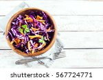 red cabbage coleslaw salad with ... | Shutterstock . vector #567724771