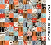 seamless background with wooden ... | Shutterstock . vector #567728425