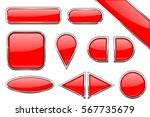 set of red glass buttons with...