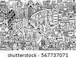 modern city illustration with a ... | Shutterstock .eps vector #567737071
