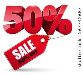 3d sale tag  50 percent off ... | Shutterstock .eps vector #567742687