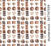 seamless pattern with chocolate ... | Shutterstock . vector #567747559