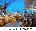 offshore life. toolbox meeting. ... | Shutterstock . vector #567749275