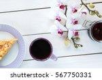 cup of tea or coffee  pie on... | Shutterstock . vector #567750331