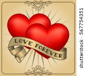 retro hearts with gold ribbons. ... | Shutterstock . vector #567754351