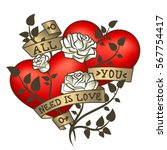 retro tattoo hearts with gold... | Shutterstock . vector #567754417