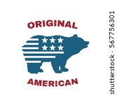 bear logo with usa flag vector... | Shutterstock .eps vector #567756301