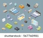vector isometric set of living... | Shutterstock .eps vector #567760981