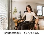 young disabled woman in... | Shutterstock . vector #567767137