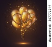 realistic 3d glossy golden... | Shutterstock .eps vector #567771349