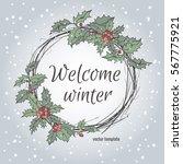 christmas wreath. vector... | Shutterstock .eps vector #567775921