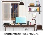 modern teenager guy room with...   Shutterstock .eps vector #567782071