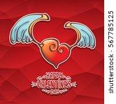 vector valentines day cartoon...   Shutterstock .eps vector #567785125