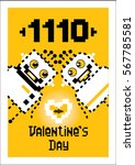 fourteen in binary. valentine's ... | Shutterstock .eps vector #567785581