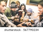 happy friends playing table...   Shutterstock . vector #567790234
