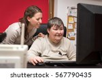 caregiver and mentally disabled ...   Shutterstock . vector #567790435