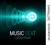 music beat. turquoise lights... | Shutterstock .eps vector #567790441
