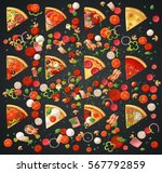 various pizza top view slices... | Shutterstock .eps vector #567792859